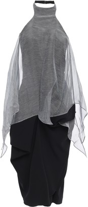 Chalayan Draped Striped Organza And Satin-crepe Halterneck Dress