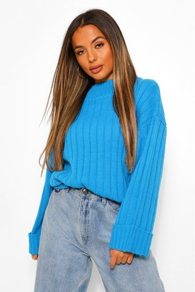 boohoo Petite Rib Knit Wide Sleeve Turn Up Cuff Sweater