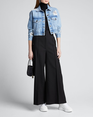 Alice + Olivia Jeans Distressed Boyfriend Crop Jacket w/ Chainmail