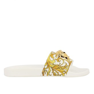 Versace Flat Sandals Slipper Sandal In Rubber And Pvc With Baroque Print