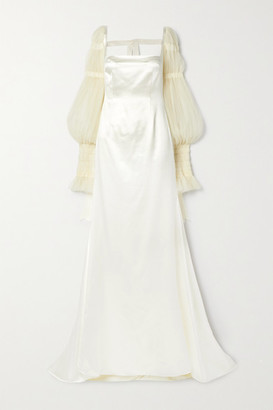 DANIELLE FRANKEL Ruby Tulle-trimmed Wool And Silk-blend Satin Gown - Ivory