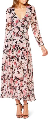 Bardot Garden Floral Cutout Back Long Sleeve Maxi Dress