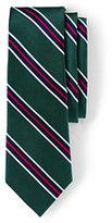 Lands' End Men's Silk Prep Stripe Necktie-Dark Bay Blue Multi Stripe