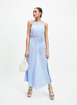 Miss Selfridge Blue Sheer 90's Neck Maxi Dress