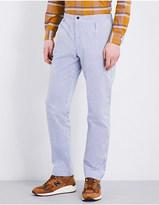 Camoshita Seersucker cotton and silk-blend trousers