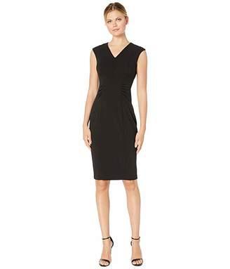 Calvin Klein V-Neck Dress with Side Waist Ruching