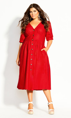 City Chic Sunset Stroll Dress - red