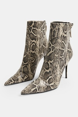 Topshop Womens Eda Grey Blue Snake Point Boots - Grey