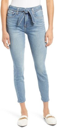 Jen7 by 7 For All Mankind Tie Front Ankle Skinny Jeans
