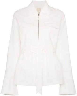 USISI Emilie zip-up tie waist jacket