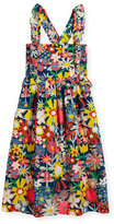 Stella McCartney Celeste Cross-Back Floral Poplin Dress, Multicolor, Size 4-14