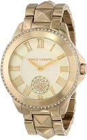 Vince Camuto Women's VC/5048CHGB Gold-Tone Pyramid Stud Bracelet Swarovski Elements Watch