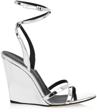 Giuseppe Zanotti Je T'Aime Metallic Leather Wedge Sandals