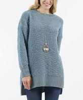Lydiane Women's Pullover Sweaters BLUEGREY - Blue Gray Popcorn-Knit Side-Slit Sweater - Women