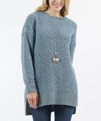 Lydiane Women's Pullover Sweaters BLUEGREY - Blue Gray Popcorn-Knit Side-Slit Sweater - Women