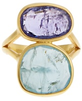 Pippa Small Amethyst, aquamarine & yellow-gold ring