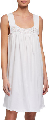 P Jamas Hortensia Crochet Sleeveless Nightgown