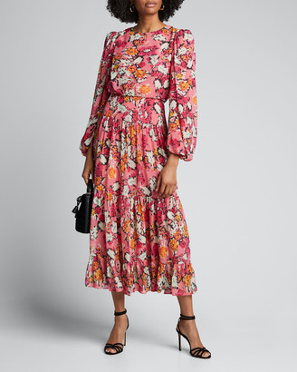 Saloni Kim B Boat-Neck Belted Floral Long Dress