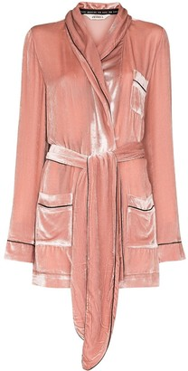 SLEEPING WITH JACQUES Velvet Effect Tied Waist Robe