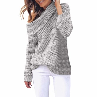 TOPEREUR Women Jumpers Off The Shoulder Knitted Sweater Turtleneck Pullover Top Blouse Long Sleeve Solid Soft Slouchy Sweater Gray