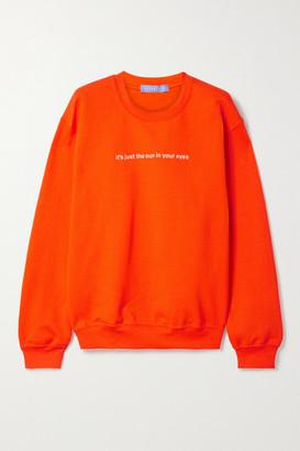 PARADISED Embroidered Cotton-blend Jersey Sweatshirt - Bright orange