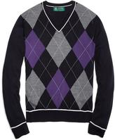 Brooks Brothers Country Club Saxxon® Wool Large Argyle V-Neck Sweater with Tipping