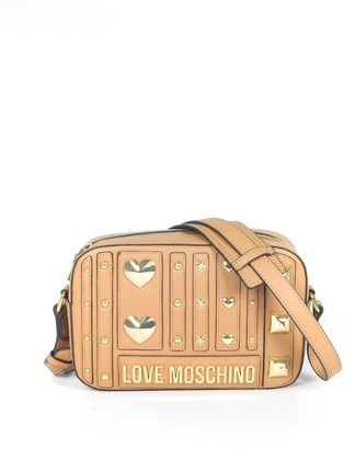 Love Moschino Camel Heart Studs Eco-leather Camera Bag