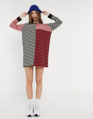 ASOS DESIGN oversized t-shirt dress with long sleeve in red patchwork stripe