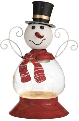 Transpac Metal Small White Christmas Light Up Snowman