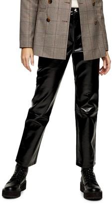 Topshop Black Faux Leather Jeans