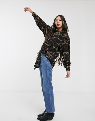 Monki Diane chain print shirt in black-Multi