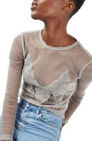 Topshop Women's Embellished Sheer Lace Top