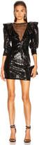 Dundas Sequin Mini Dress in Black | FWRD