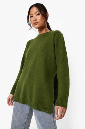 boohoo Petite Side Split Tunic Sweater