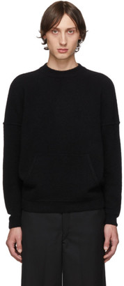 Giorgio Armani Black Cashmere and Silk Kangaroo Pocket Sweater