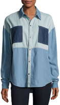 MinkPink Mink Pink Soul Patch Oversized Denim Shirt, Blue