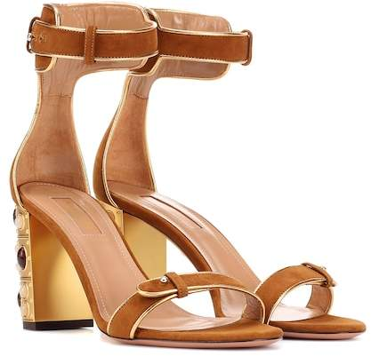 Aquazzura Lucky Star 85 suede sandals