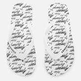 Armani Exchange Men's AX Flip Flops - AX All Over White