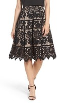 Eliza J Women's Pleated Lace Skirt