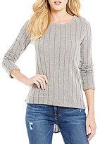 Blu Pepper Chiffon-Back High-Low Knit Sweater