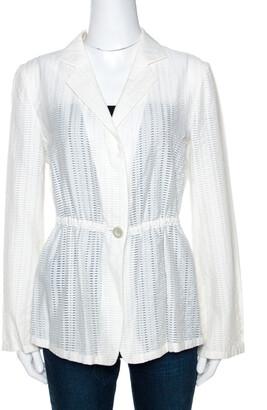 Armani Collezioni White Perforated Wool Blend Peplum Jacket M