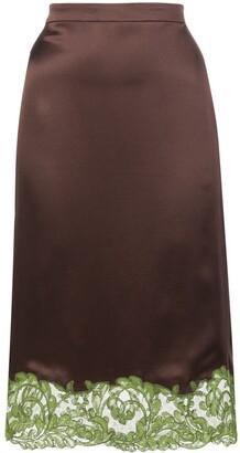 Versace Lace-Trimmed Slip Skirt