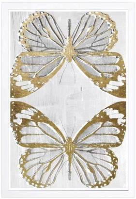Wynwood Studio 'Golden Butterflies' Framed Art