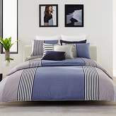 Lacoste Meribel Blue and Grey Colorblock Striped Brushed Twill Duvet Set, Full/Queen