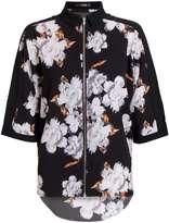 Quiz **Quiz Black Crepe Floral Print Zip Shirt