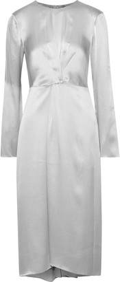 Vince Asymmetric Pleated Silk-satin Dress