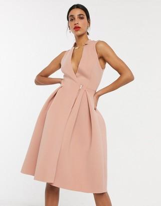 ASOS DESIGN tux midi prom dress with zip detail in mahogany rose