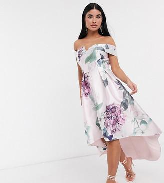 Chi Chi London bardot midi prom dress in floral