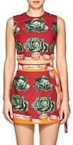 Dolce & Gabbana Women's Cabbage-Print Cotton Poplin Crop Top