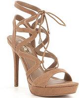 GUESS Aurela3 Suede Lace-Up Ultra High Heel Dress Sandals